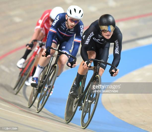 New Zealand Campbell Stewart gold medal and France's Benjamin Thomas silver medal compete in men's omnium at the UCI Track Cycling World Championship...