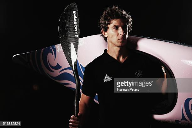 New Zealand canoe slalom athlete Michael Dawson poses during the New Zealand Olympic teams Rio 2016 Olympic Games portrait session on February 29...