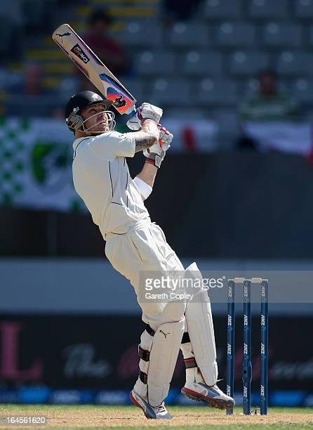 New Zealand captain Brendon McCullum hits out for six runs during day four of the Third Test match between New Zealand and England at Eden Park on...