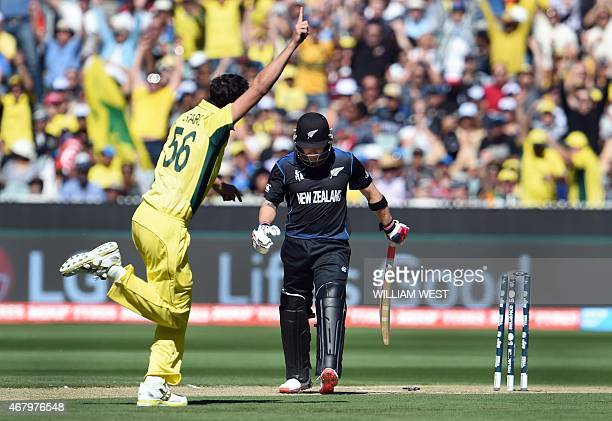 New Zealand captain Brendon McCullum is bowled by Australia's Mitchell Starc for a duck during the the 2015 Cricket World Cup final in Melbourne on...