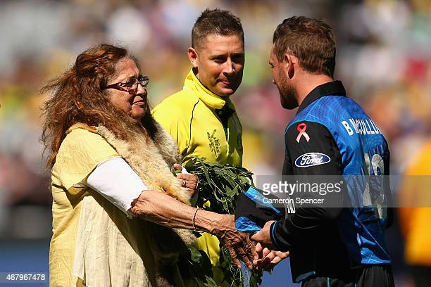 New Zealand captain Brendon McCullum receives an indigenous welcome as Australian captain Michael Clarke walks past during the 2015 ICC Cricket World...