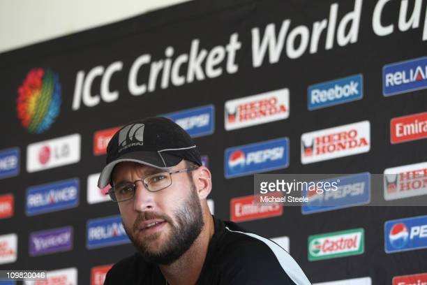New Zealand captain Daniel Vettori addresses the press ahead of a training session at the Pallekele Cricket Stadium on March 7 2011 in Kandy Sri Lanka