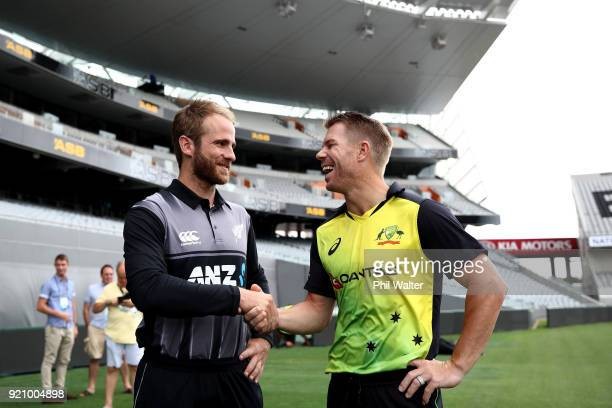 New Zealand Captain Kane Williamson and Australia captain David Warner shake hands before a New Zealand Blackcaps Training Session Media Opportunity...