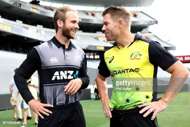 New Zealand Captain Kane Williamson and Australia captain David Warner chat on the field before a New Zealand Blackcaps Training Session Media...