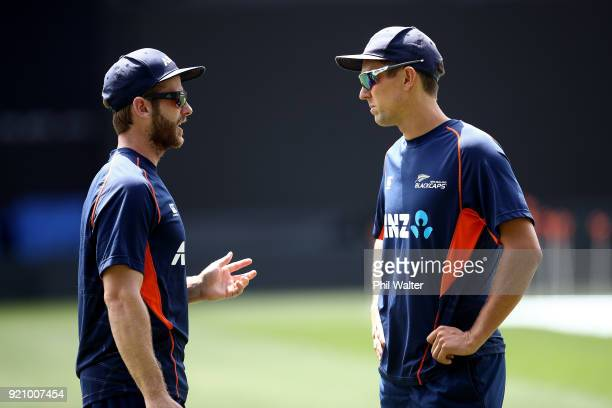 New Zealand Captain Kane Williamson and Trent Boult during a New Zealand Blackcaps Training Session Media Opportunity at Eden Park on February 20...