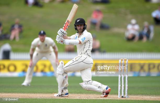 New Zealand captain Kane Williamson bats during day 5 of the second Test match between New Zealand and England at Seddon Park on December 03, 2019 in...