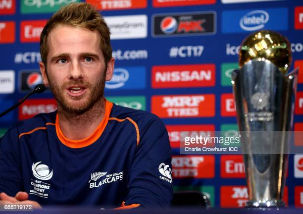 New Zealand captain Kane Williamson chats to the media during the ICC Champions Trophy New Zealand Press Conference on May 25 2017 in London England
