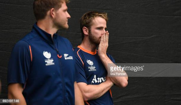 New Zealand captain Kane Williamson chats with reacts during nets at the Swalec Stadium ahead of the ICC Champions Trophy match between England and...