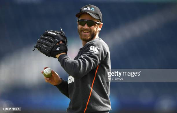 New Zealand captain Kane Williamson in action during New Zealand Nets Session at Emirates Riverside on July 02 2019 in ChesterleStreet England
