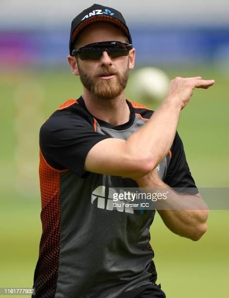 New Zealand captain Kane Williamson in fielding action during nets prior to the Final of the ICC Cricket World Cup 2019 between New Zealand and...