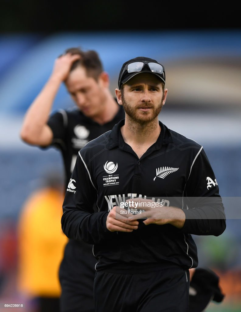 New Zealand captain Kane Williamson leads his team off the field after the ICC Champions Trophy match between New Zealand and Bangladesh at SWALEC Stadium on June 9, 2017 in Cardiff, Wales.