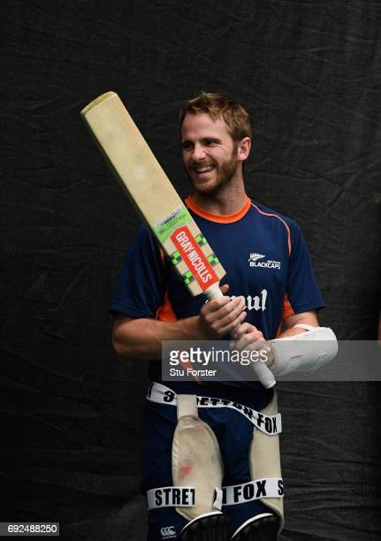 New Zealand captain Kane Williamson raises a smile during nets at the Swalec Stadium ahead of the ICC Champions Trophy match between England and New...