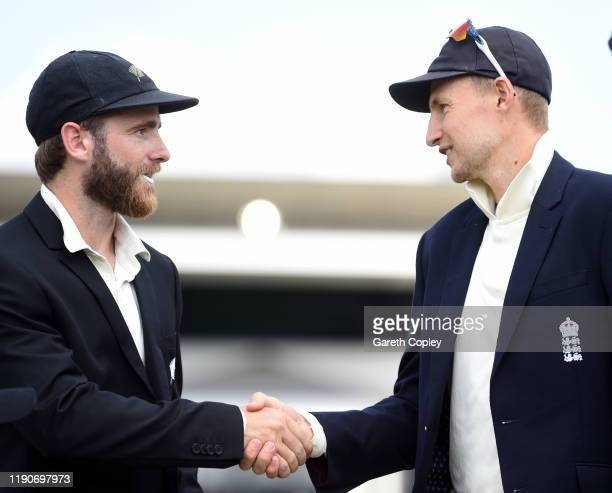 New Zealand captain Kane Williamson shakes hands with England captain Joe Root ahead of day 1 of the second Test match between New Zealand and...