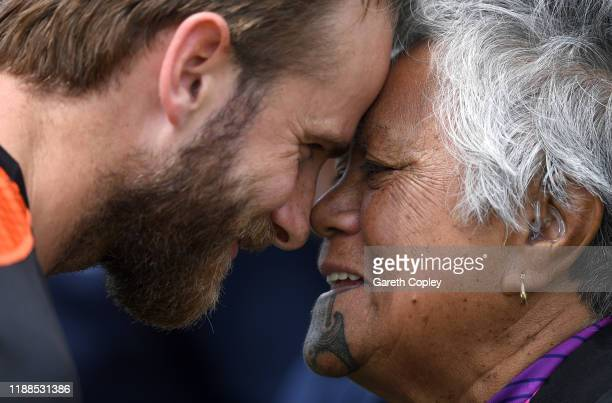 New Zealand captain Kane Williamson takes part in a hongi during a Maori welcome ceremony at Bay Oval on November 19, 2019 in Mount Maunganui, New...