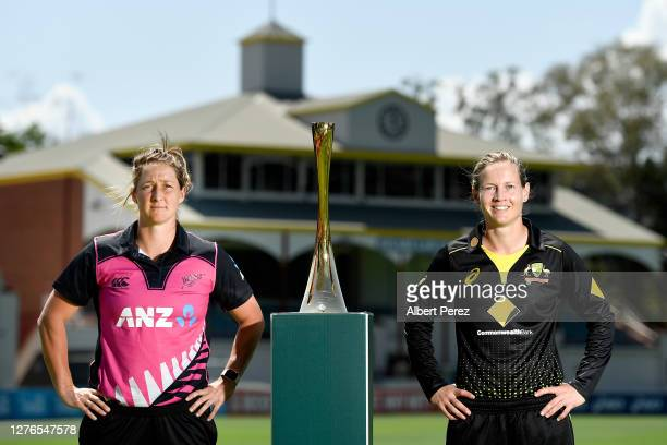 New Zealand captain Sophie Devine poses with Australia captain Meg Lanning during a media opportunity ahead of the Women's T20 and ODI series between...
