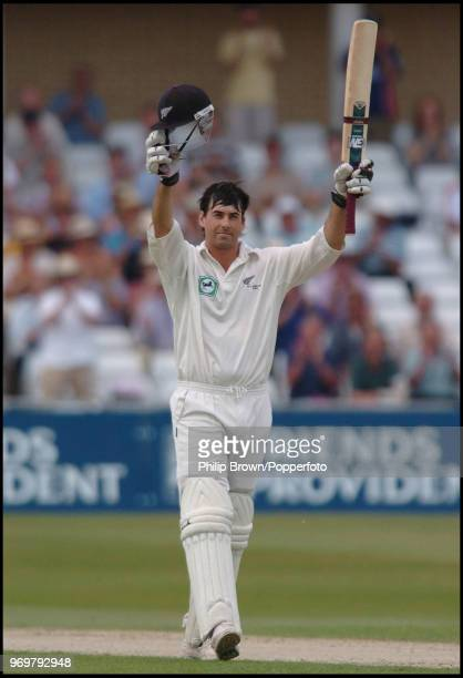 New Zealand captain Stephen Fleming celebrates reaching his century during his innings of 117 in the 3rd Test match between England and New Zealand...