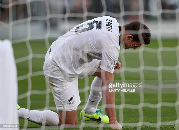 New Zealand captain Tommy Smith reacts in the Mexican goal area during their World Cup qualifying football match at Westpac Stadium in Wellington on...