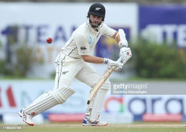New Zealand caption Kane Williamson hits out during day three of the First Test match between Sri Lanka and New Zealand at Galle International...