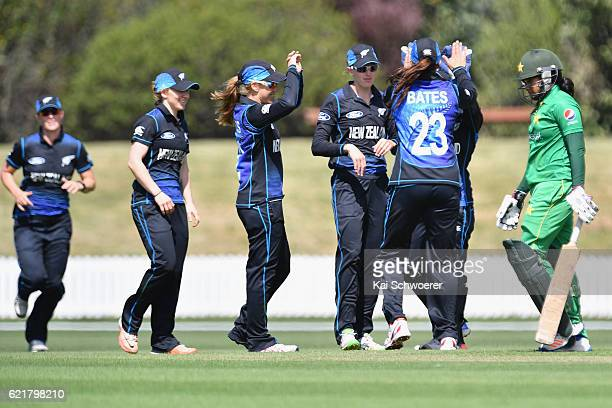 New Zealand celebrate after Lea Tahuhu dismisses Ayesha Zafar of Pakistan during the Women's One Day International match between the New Zealand...