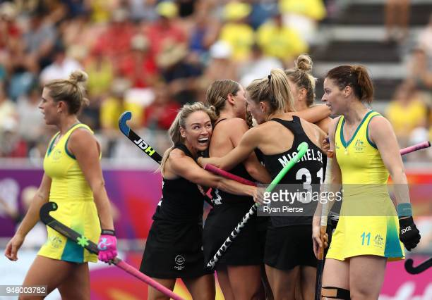 New Zealand celebrate after Shiloh Gloyn of New Zealand scored her teams first goal during the Women's Gold Medal match between Australia and New...