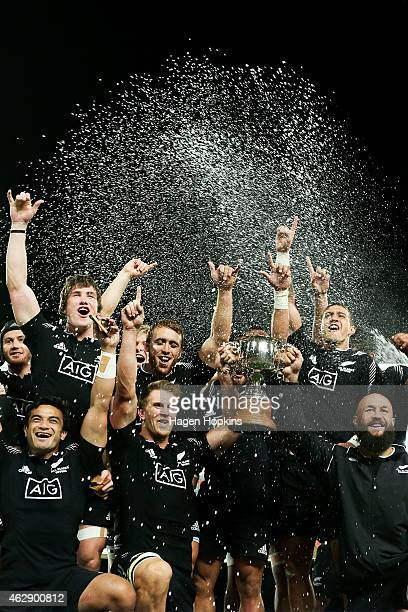 New Zealand celebrate after winning the cup final between England and New Zealand in the 2015 Wellington Sevens at Westpac Stadium on February 7 2015...