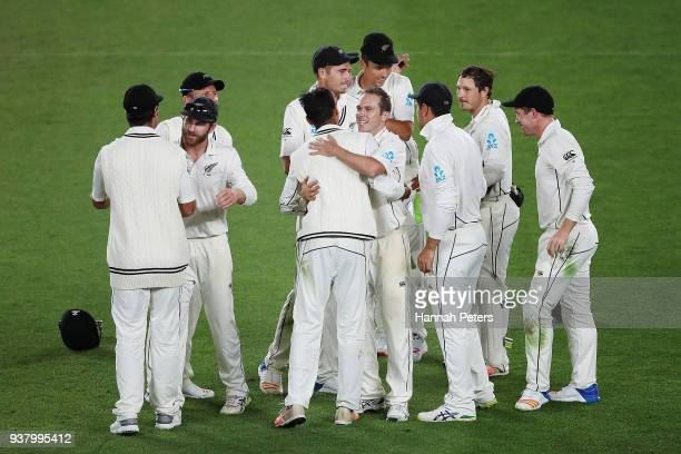 New Zealand celebrate after winning the First Test match between New Zealand and England at Eden Park on March 26 2018 in Auckland New Zealand
