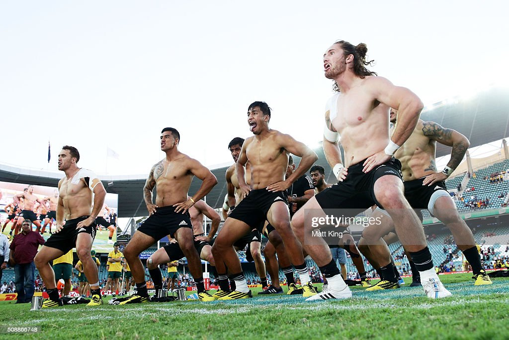 New Zealand celebrate and perform the Haka after winning the 2016 Sydney Sevens Cup Final match against Australia at Allianz Stadium on February 7, 2016 in Sydney, Australia.