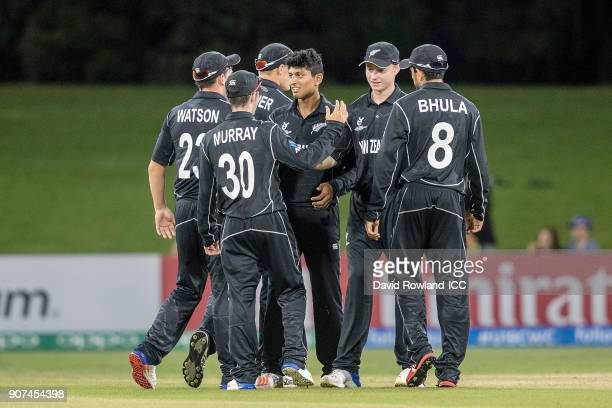 New Zealand celebrate during the ICC U19 Cricket World Cup match between New Zealand and South Africa at Bay Oval on January 20 2018 in Tauranga New...