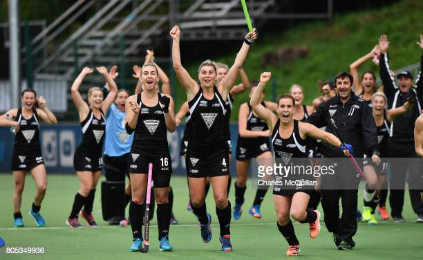 New Zealand celebrate during the shoot out mistakenly thinking they had scored the winning penalty at the Fintro Hockey World League SemiFinal second...