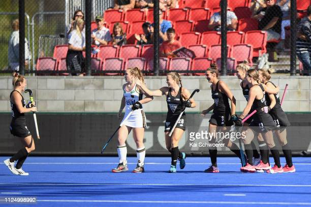New Zealand celebrate their first goal during the Women's FIH Field Hockey Pro League match between New Zealand v Germany on February 15 2019 in...