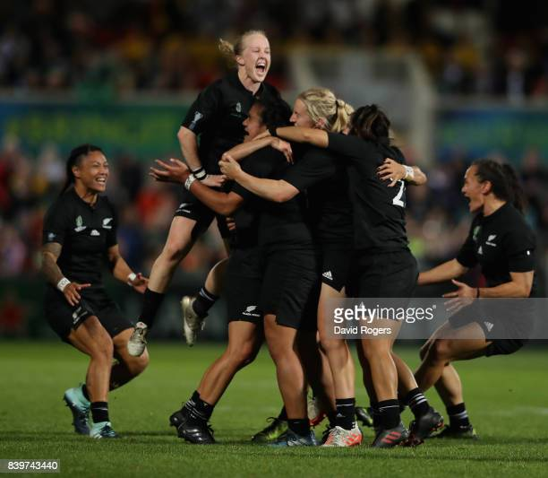 New Zealand celebrate their victory during the Women's Rugby World Cup 2017 Final betwen England and New Zealand at the Kingspan Stadium on August 26...