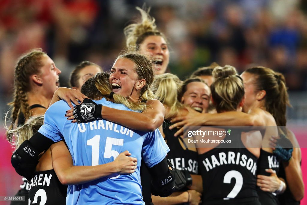 New Zealand celebrate victory in Women's Semifinal hockey match after the penalty shoot out between England and New Zealand on day eight of the Gold Coast 2018 Commonwealth Games at Gold Coast Hockey Centre on April 12, 2018 on the Gold Coast, Australia.