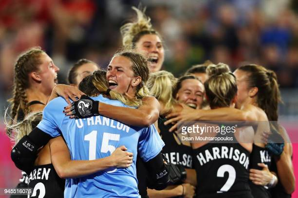 New Zealand celebrate victory in Women's Semifinal hockey match after the penalty shoot out between England and New Zealand on day eight of the Gold...