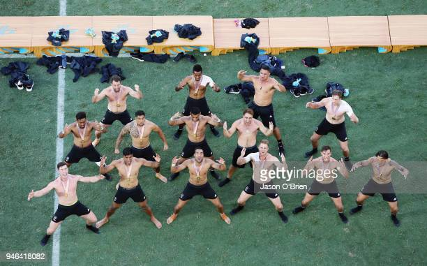 New Zealand celebrate winning the Gold Medal by performing the Haka during Rugby Sevens on day 11 of the Gold Coast 2018 Commonwealth Games at Robina...