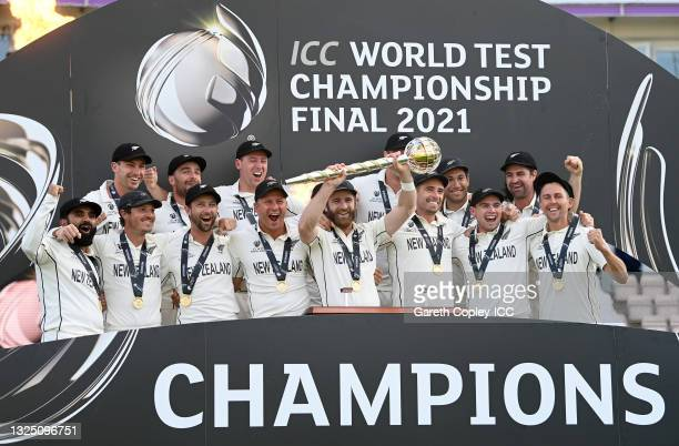 New Zealand celebrate winning the ICC World Test Championship Final between India and New Zealand at The Ageas Bowl on June 23, 2021 in Southampton,...