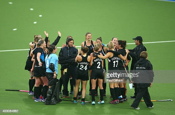 New Zealand celebrate winning the Women's Bronze Medal match between New Zealand and South Africa at Glasgow National Hockey Centre during day ten of...