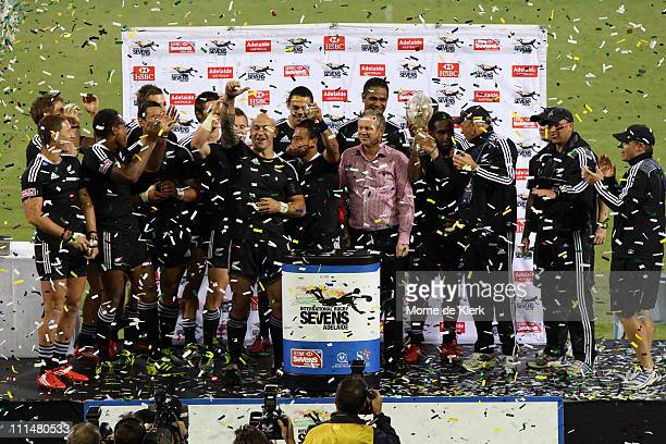 New Zealand celebrate with their trophy after winning the Cup Final during day two of the 2011 Adelaide IRB Rugby Sevens at Adelaide Oval on April 3...