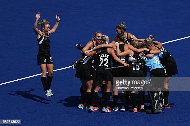 New Zealand celebrates after defeating Australia 42 in the quarter final hockey game on Day 10 of the Rio 2016 Olympic Games at the Olympic Hockey...