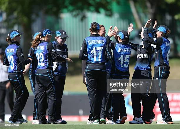 New Zealand celebrates during the 5th Women's ODI match between South Africa and New Zealand at Boland Park on October 19 2016 in Paarl South Africa