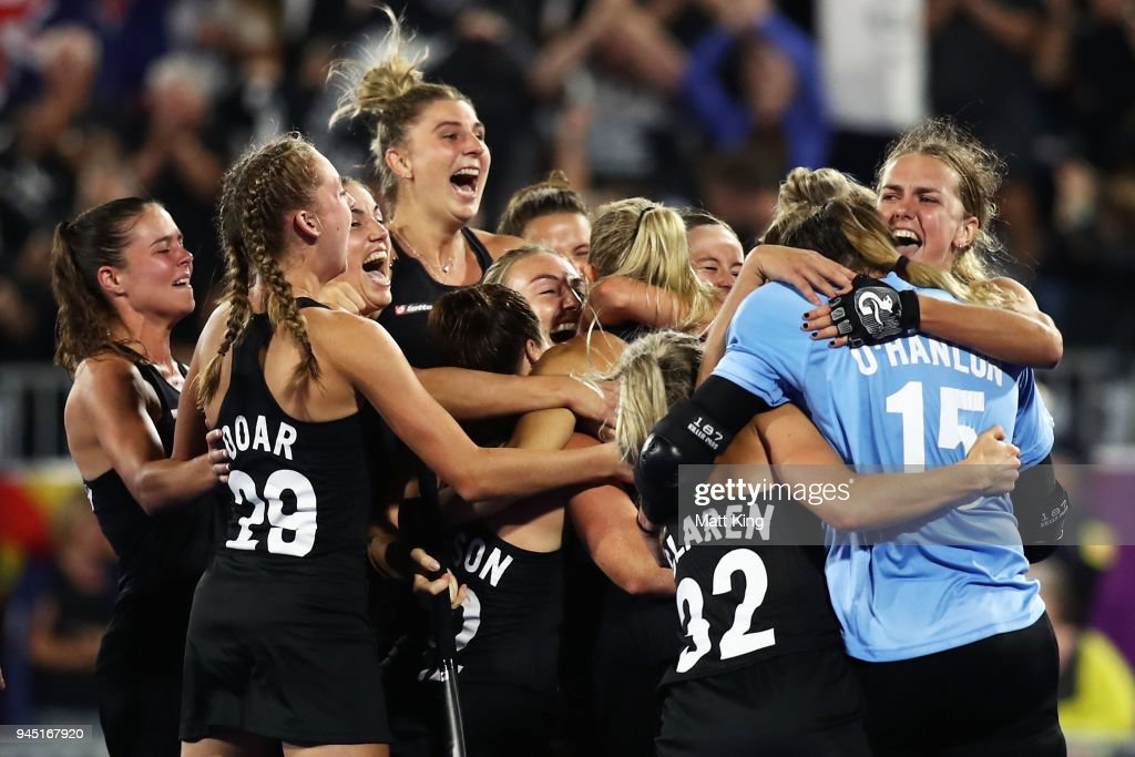 New Zealand celebrates victory after scoring last in the penalty shoot out during Women's Semi Final Hockey match between England and New Zealand on day eight of the Gold Coast 2018 Commonwealth Games at Gold Coast Hockey Centre on April 12, 2018 on the Gold Coast, Australia.