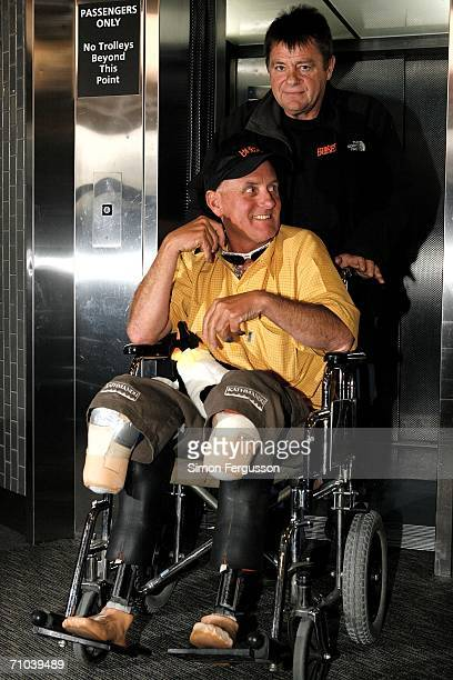 New Zealand climber Mark Inglis a doubleamputee is wheeled out of a lift upon arriving at Christchurch airport after returning from Kathmandu May 25...