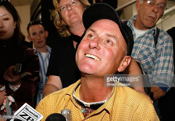 New Zealand climber Mark Inglis a doubleamputee speaks to media upon arriving at Christchurch airport after returning from Kathmandu May 25 2006 in...