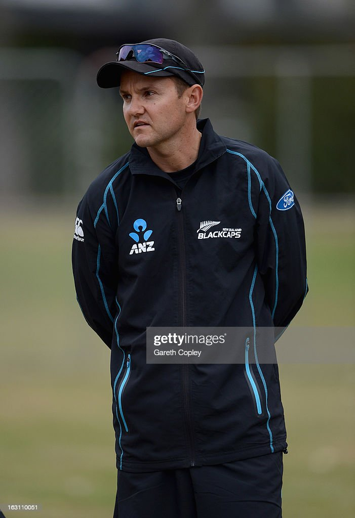 New Zealand coach Mike Hesson during an nets session at the University Oval on March 5, 2013 in Dunedin, New Zealand.