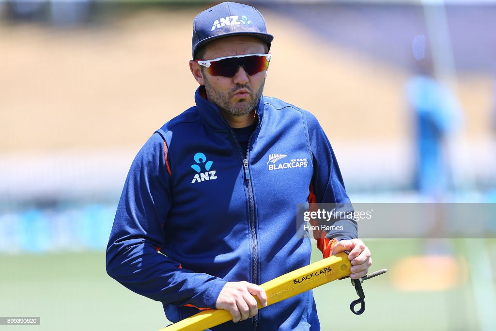 New Zealand Coach Mike Hesson prepares for the warm ups during game one of the Twenty20 series between New Zealand and the West Indies at Saxton Field on December 29, 2017 in Nelson, New Zealand.
