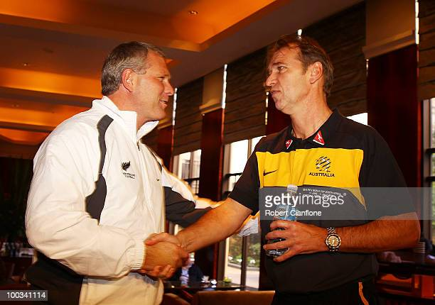 New Zealand coach Ricki Herbert greets Australian coach Pim Verbeek prior to a New Zealand All Whites press conference at Park Hyatt Hotel on May 23...