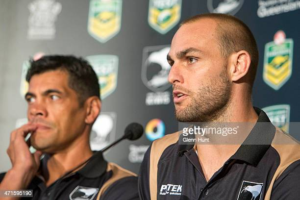 New Zealand coach Stephen Kearney and captain Simon Mannering speak to the media ahead of the international Test match during a press conference at...