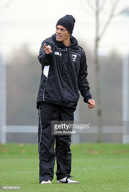 New Zealand coach Stephen Kearney gestures during the New Zealand Training Session at Leigh East on November 26 2013 in Leigh England