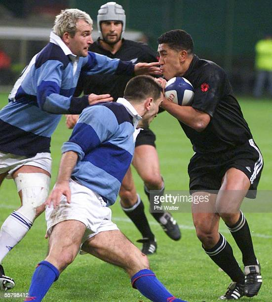 New Zealand Commerative XV Malili Muliaina in action against the French Barbarians in their International Rugby match played at Stade Bollaert in...