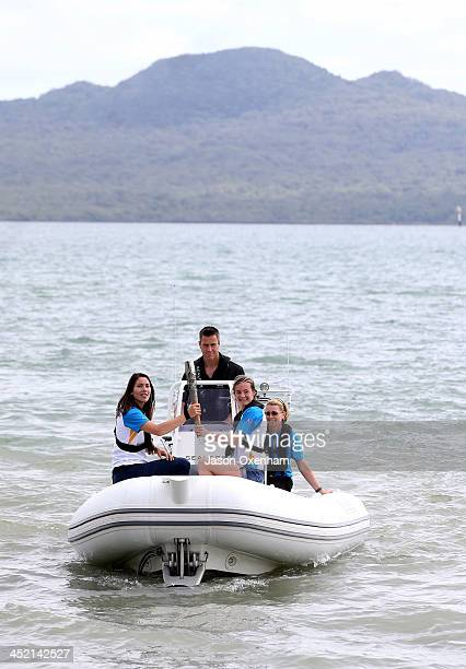 New Zealand Commonwealth Games athletes Joelle King and Nikki Hamblin and Baton relay manager Joanne Shaw with Chef de Mission Rob Waddell behind the...