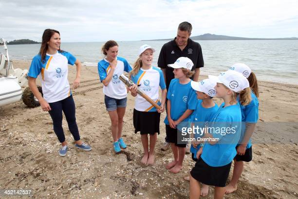 New Zealand Commonwealth Games athletes Joelle King Nikki Hamblin and Chef de Mission Rob Waddell talk with students from St Heliers Bay School with...